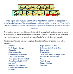Teacher Supply Closet List